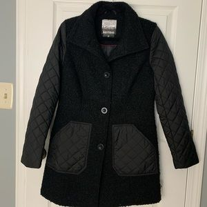 Kensie Black Teddy/Quilted Button Down Black Coat